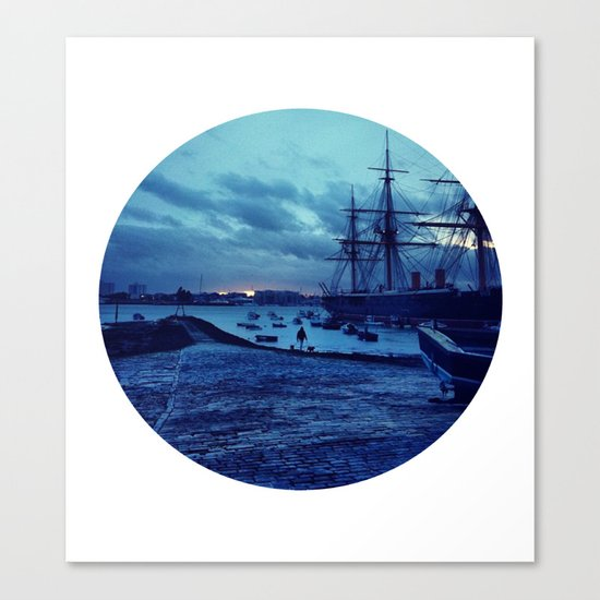 Telescope 3 harbour twilight Canvas Print