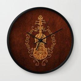 Aged Vintage Brown Tribal Violin Design Wall Clock