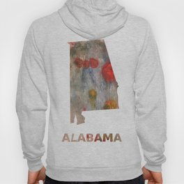 Alabama map outline Rosy brown clouded wash drawing painting Hoody
