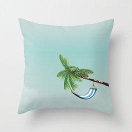 Cuba Hammock travel poster Throw Pillow