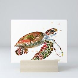 Sea Turtle, Brown, Olive green Pink Shades Mini Art Print