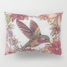 Hummingbird In Flowery Garden Wreath Pillow Sham