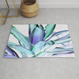 Lavender Seafoam Mint Plant Leaves Abstract Rug