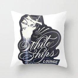 The White Ships Lounge Throw Pillow