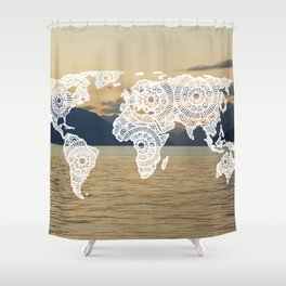 Lake View Map Shower Curtain