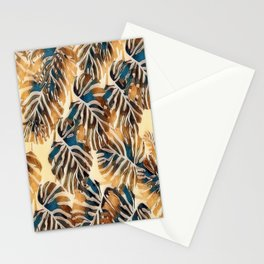 Soft Brown and Amber Tropical Leaves Stationery Cards