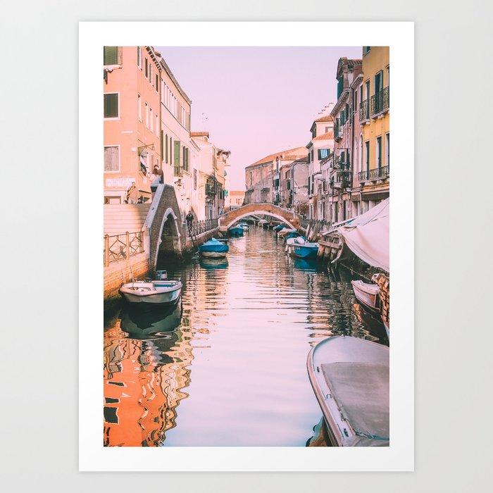 Pink Canal in Venice Fine Art Print Art Print