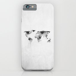 World Map - Hammered Metallic Monochrome iPhone Case