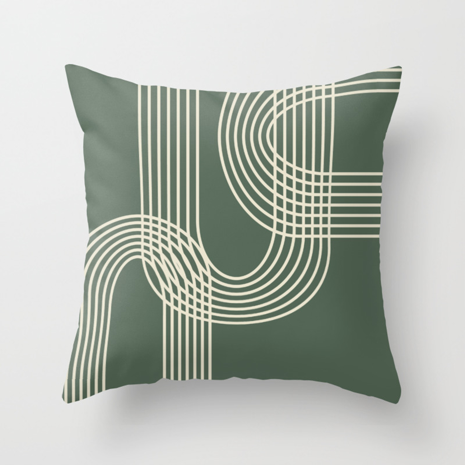 Minimalist Lines In Forest Green Throw Pillow By Junejournal Society6
