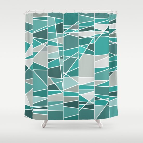 Turquoise And Grey Shower Curtain By Colorshop