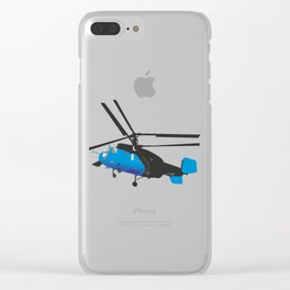 Black and Blue Helicopter Clear iPhone Case