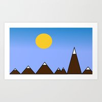 Sunny day with the mountains  Art Print