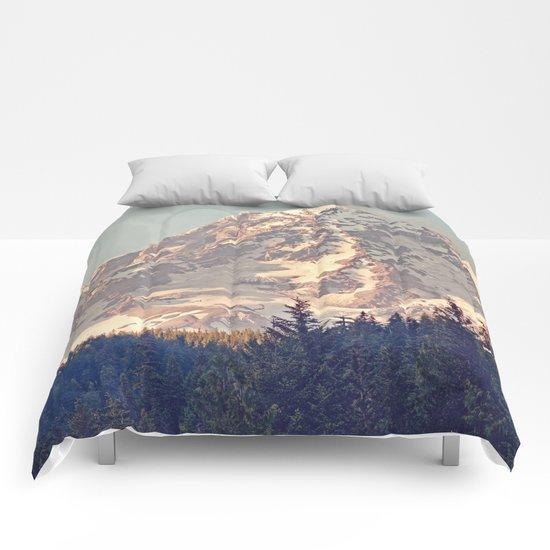 Mount Rainier Retro Comforters