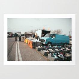 Blue Van flea market Art Print
