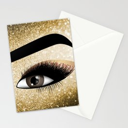 Gold Lashes Eye Stationery Cards