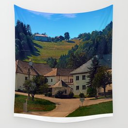 Small village in autumn scenery Wall Tapestry