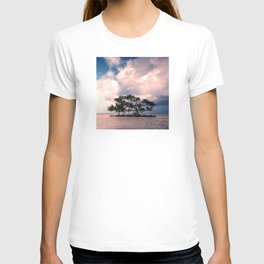 Small Trees on Floating Island Under Stormy Sky T-shirt