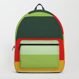 Orange Green Yellow Red Pattern Colour Block Stripes Backpack