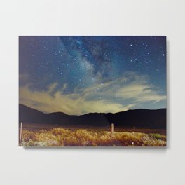 Milky Way Star Night Sky Over Wheat Field Magical Landscape Metal Print