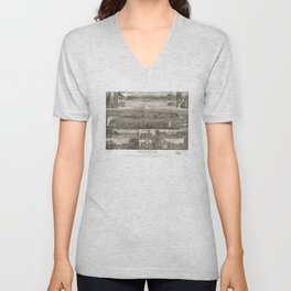 Vintage Pictorial Map of Olympia WA (1903) Unisex V-Neck