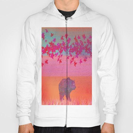 Little bear in the colorful field, leaf, colors, pink, blue, field, grass, bear Hoody