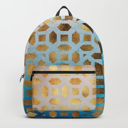 Exotic Gold Moroccan Geometric Pattern on Blue Background Backpack