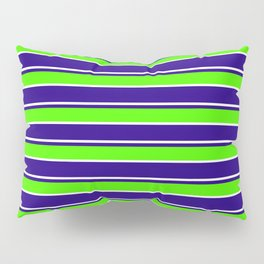 Nautical Stripes, Navy, Chartruce and White Pillow Sham