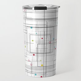 Colorful abstract geometric pattern with color dots Travel Mug