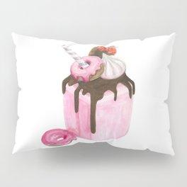 Strawberry milkshake,Pink milkshake,Donuts,Sweets art,Watercolor art,Pink art,Dessert Pillow Sham