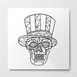Skull Uncle Sam Black and White Mosaic Metal Print