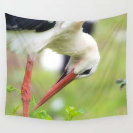 Portrait of a stork in summer Wall Tapestry