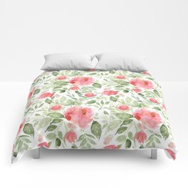 Painted Watercolour Garden Red Roses Comforters