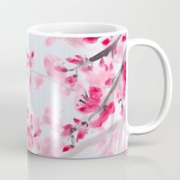 cherry blossoms Mugs featuring Cherry Blossoms  by Catherine Holcombe