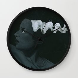 Frankenstein's bride on vinyl record print Wall Clock