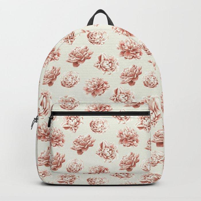 Rose Garden Vintage Rose Pink and Cream Backpack