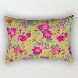Mustard yellow floral autumn / fall flowers and berries Rectangular Pillow
