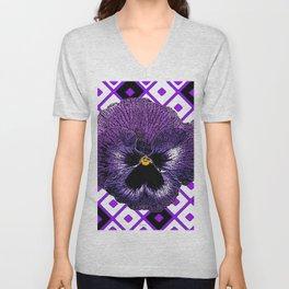 Purple & Black Pansy White Pattern Art Unisex V-Neck