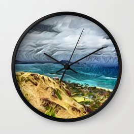Overview of Hawaii Island and Pacific Ocean Wall Clock