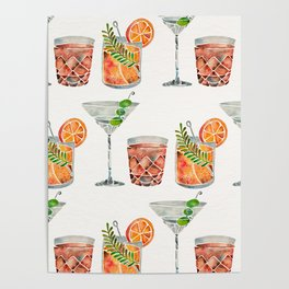Classic Cocktails  – 1960s Watercolor Lineup Poster