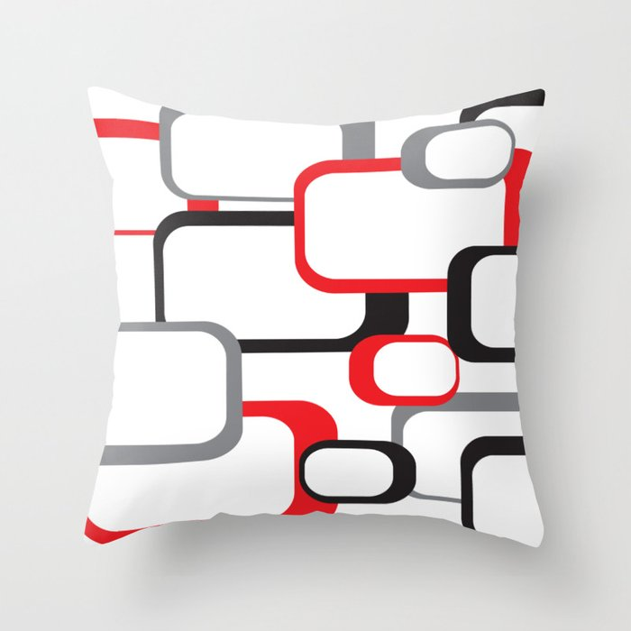 Red Black Gray Retro Square Pattern White Throw Pillow By