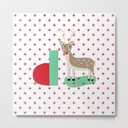 letter D - Deer - monogram - christmas - xmas - plus sign Metal Print
