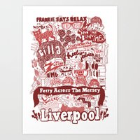 liverpool Art Prints featuring Liverpool by leeann walker illustration