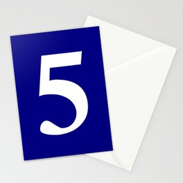 5 (WHITE & NAVY NUMBERS) Stationery Cards