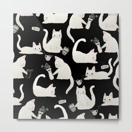 Bad Cats Knocking Things Over, Black & White Metal Print