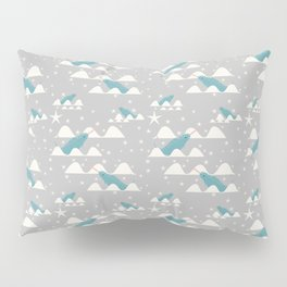 narwhal in ocean grey Pillow Sham