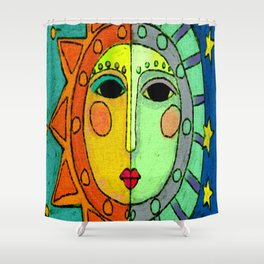 Moon and Sun Abstract Digital Painting Shower Curtain