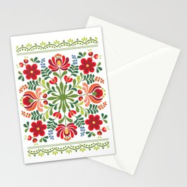 Hungarian Folk Design Red and Pink Stationery Cards