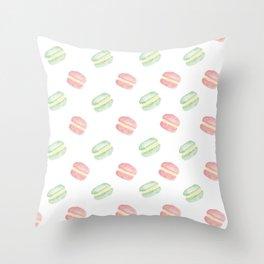 Pistachio and Rose Macarons Throw Pillow