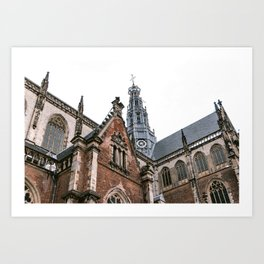 Saint Bavo Cathedral in Haarlem from below | Iconic historical gothic architecture | Urban fine art print Art Print