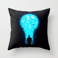 bright Throw Pillows featuring Bright Side by nicebleed